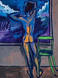 Rainer Fetting (German, born in Lives and works in Berlin) I find you horny (Ich Finde Dich Geil), 1982 oil on canvas Colorful Paintings, Contemporary Paintings, Rainer Fetting, People Figures, Art Station, Gay Art, Guys Be Like, Life Drawing, Modern Man