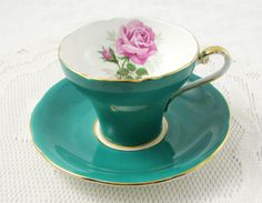 Green Aynsley Tea Cup with Pink Rose, Corset Shape, Vintage Bone China