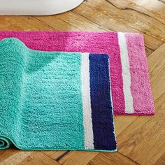Color Block Bath Mat, Girl, Pool/ Royal Navy, One Size- Sophie likes the teal Girl Bathrooms, Bathroom Kids, Kids Bath, Bathroom Mat, Blue Bathroom Rugs, Eclectic Bathroom, Modern Bathroom, Teen Bath, Blue Bath Mat