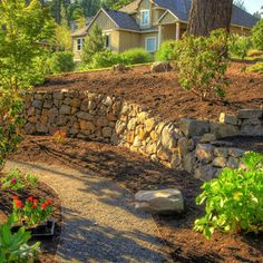 Retaining Wall By Driveway Landscape Design Ideas, Pictures, Remodel and Decor