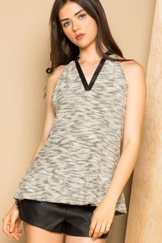THML   Women's halter top with sweater material and leather V-neck binding