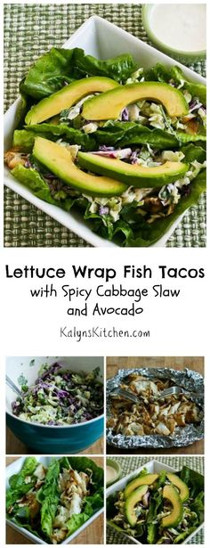 Lettuce Wrap Fish Tacos Recipe with Spicy Cabbage Slaw and Avocado are a delicious dinner option that's low-carb and gluten-free! [from KalynsKitchen.com]