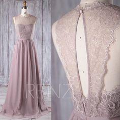 2017 Rose Gray Chiffon Lace Bridesmaid Dress, Key Hole Back Wedding Dress, A Line Prom Dress, Long Maxi Dress Floor Length (L229)