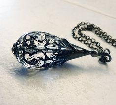Black Lace Elegant Tear Drop Pendant by lunarbelle on Etsy