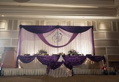 Scalloped head table overlay + a bunch of other examples and ideas  THIS IS THE BEST EXAMPLE OF WHAT I WANT TO DO FOR THE BACKDROP FOR THE CEREMONY!!!