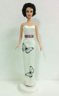 Barbie Dress - Butterfly Pattern Long Dress (with Purple Satin Belt)