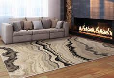 Swirls of grey and black create a trendy marble print across this Cascade area rug. Decor And Accessories. Shades Of Black, Black And Grey, Different Tones, Marble Effect, Marble Print, Neutral Palette, Swirls, Light In The Dark, Brick