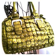 Faux Croc Print Satchel with Stud Accent This faux croc embossed print satchel with stud accents is hot!  Top zipper closure and zippered pocket on back, detachable shoulder strap included. Nice and roomy... Bags Satchels