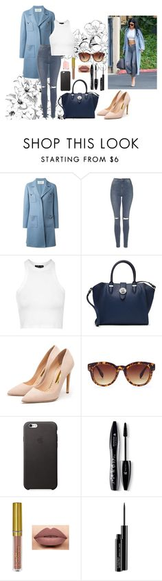 """""""Kylie Jenner street style look alike"""" by jenwolf2121 ❤ liked on Polyvore featuring Valentino, Topshop, Lauren Ralph Lauren, Rupert Sanderson, Forever 21, Lancôme, LASplash, MAC Cosmetics, Essie and women's clothing"""