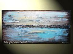 "GICLEE PRINT Art Abstract Painting Blue Modern Canvas Prints Urban Aqua Brown White Sizes to 60"" - Christine Krainock Art - Contemporary Art by Christine - 3"