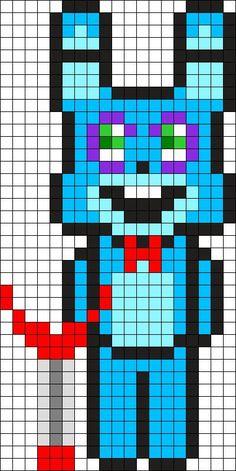 Kandi Patterns for Kandi Cuffs - Characters Pony Bead Patterns Easy Perler Bead Patterns, Melty Bead Patterns, Kandi Patterns, Peyote Stitch Patterns, Beading Patterns, Crochet Five Nights At Freddys, Minecraft Designs, Minecraft Ideas, Pix Art