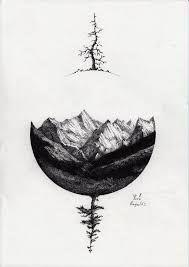Resultado de imagem para black and white mountain tattoo
