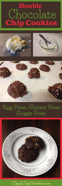 Low Carb Double Chocolate Chip Cookie--sugar, egg, gluten & dairy free.