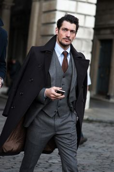 "Mr Gandy as impeccable as ever, grey flannel 3 pieces, nice to see the move away from the scoop shawl DB waistcoat for a change. ""London Collections: Men Street Style - GQ.co.uk"""