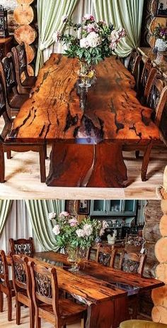 "A beautiful dining table for 6 person is made of slabs of wood with a very beautiful texture and a natural, ""live"" edge. The wood for the table was heat treated. Wood is covered with natural oil-wax. The River style table is filled with epoxy resin Legs of the table are also made of the wood. #woodtable #woodepoxytable #diningtable by debbie"