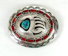 Native American Bear Paw belt buckle Navajo Sterling Silver turquoise and coral