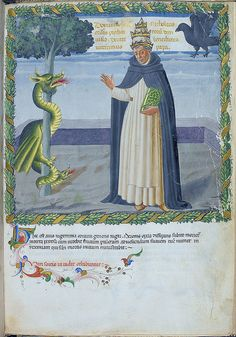 London BL - Harley 1340 f. 4r Pope Benedict XI with double-headed dragon