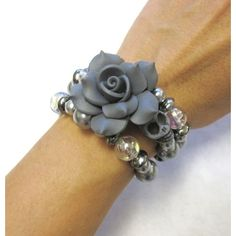 Day of the Dead Bracelet Sugar Skull Cuff Wrap Memory Wire Black Rose ❤ liked on Polyvore featuring jewelry, bracelets, cuff jewelry, beading jewelry, wire wrapped bangle, skull bangle and beaded jewelry