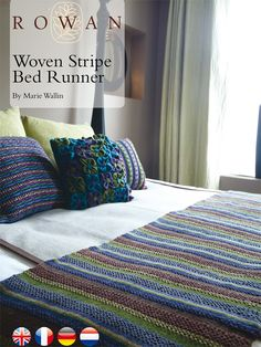 A colourful woven bed runner by Marie Wallin in Chenille. Free pattern to download.