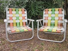 Pair Of 2 Vintage Aluminum Lawn Patio Chairs Low Short Folding Webbed Set Yellow