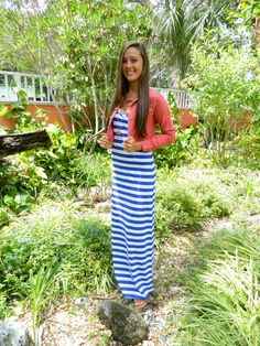 Blue Stripped Maxi Dress with Red Denim Jacket
