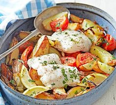 Greek Style Roast Fish - oven bake white fish fillets with potatoes, tomatoes and herbs for a healthy weeknight dinner! Bbc Good Food Recipes, Cooking Recipes, Healthy Recipes, Budget Cooking, Amazing Recipes, Bbc Recipes, Dinner Recipes, Food Budget, Budget Recipes