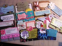 Making individual scripture cards to give to others.  This is not a how -to, only an idea.  would be neat to trade.