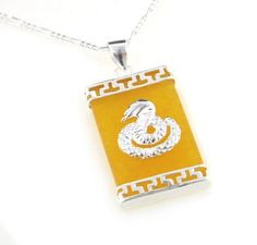 "Cobra Snake on Genuine Yellow Jade Sterling Silver Pendant 24"" Necklace Silver Insanity. $34.97. 24"" Figaro Chain; Weight is 6.1 Grams; 1' High and 5/8"" Wide; Marked 925; Genuine Yellow Jade"