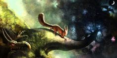 Ratatosk (often spelled Ratatoskr) is a monster squirrel who runs up and down the world tree Yggdrasil. He spreads lies and gossip between the dragon at the roots of Yggdrasil and the eagle at the top. He does this attempting to bring down Yggdrasil. Thor, Loki, North Mythology, Mythology Books, Viking Symbols And Meanings, Norse Symbols, Vikings, Art And Illustration, Dragons