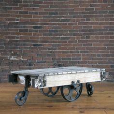 SensUnik Industrial Cart turned Coffee Table.