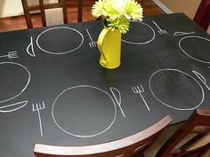 My next project - chalkboard dining room table top Chalkboard Table, Chalkboard Paint, Tables Tableaux, Chalk Paint Table, Sweet Home Alabama, Do It Yourself Crafts, Dinner Table, Dining Room Table, Decoration