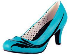 Turquoise and Black Flock Feather Anti Pop Heel - T.U.K. $48.00
