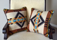 Pendleton® Wool -- PAIR of Pillow Shams 16 x 16 I have created these pillow covers using genuine Pendleton® Wool. This fabric is the iconic