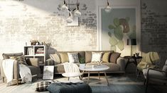 Modern rustic living room render by NONAGON.studio with exposed brick wall and large oversized rug | NONAGON.style