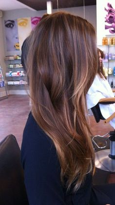 Extended brown hair with blonde highlights