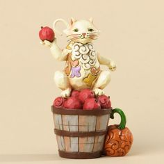 Mini Harvest Cat With Apples Figurine -  Figurine by Jim Shore