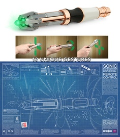 Dr. Who Mark VII Sonic Screwdriver Programmable TV Remote. This advanced, gesture-based, infrared remote can learn the control codes from almost any regular remote control. With 13 gestures and 3 memory banks, you can store up to 39 remote control codes on the Sonic Screwdriver. Bright illuminating tip lights up and pulses when in standby.  Personal lock code lets you keep the power all to yourself. Quiet Control mode: Control your electronics, quietly. Requires 2 AAA batteries.