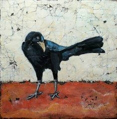 """""""This acrylic bird art is a print from my mixed media painting of a crow. Those wonderful cracks and crevices began by impregnating burlap with plaster to give this wonderful texture.""""  Diana Mulder"""