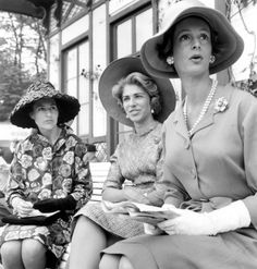 Baroness Marie-Hélène de Rothschild & Mrs Marella Agnelli, at horse race in Chantilly France, 1960