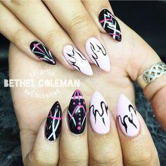 Black and pink acrylic nails, nail art, gel polish