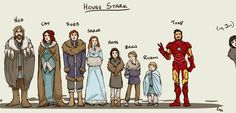 House Stark! haha Game of Thrones + IronMan  Poor Jon! ;_;