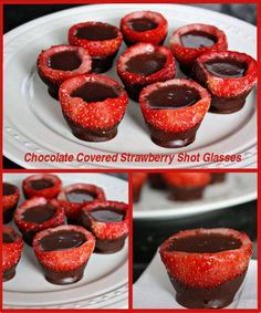 Edible Chocolate Covered Strawberry Shot Glasses