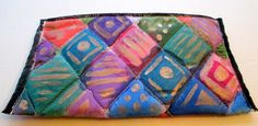 Gorgeous handpainted multicolor Silk Purse--perfect for #christmas events or gift . Zipper top closure and silk lining #silkworth Etsy