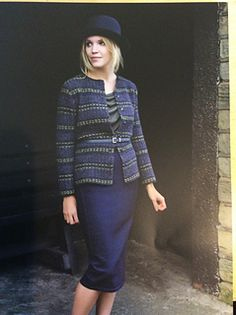 Classic round neck cardigan with an interesting slipped stitch stripe sequence. The yardage is the total for 3 colours of Felted Tweed DK.
