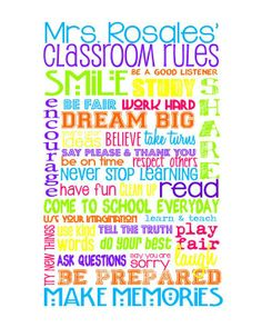 """Classroom Rules for HIGH SCHOOL Classroom - Multi Color Brights - Customize with Teacher's Name - 8x10"""""""