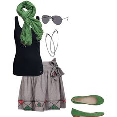 I love green and grey together♡, created by kristashair5.polyvore.com