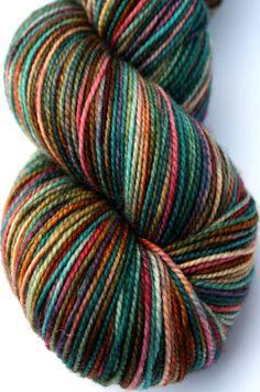 Kettle Dyed Sock Yarn Superwash Merino Fingering by LadybugFiber