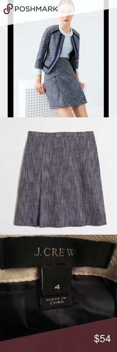 J. Crew Navy Tweed Pleated Skirt Size 4 Gorgeous classic navy Tweed Pleated skirt by J. Crew. Rear zip. Size 4. EUC. J. Crew Skirts A-Line or Full