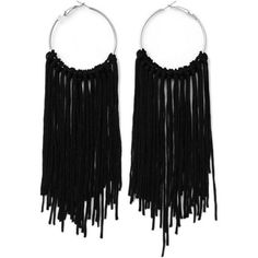 Fringed Tassel Hoop Earrings ($4.42) ❤ liked on Polyvore featuring jewelry, earrings, tassle earrings, tassel earrings, earring jewelry, tassel jewelry and fringe tassel earrings
