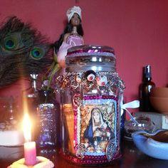 Voodoo wish jar addressed Erzulie Freda. Pagan Altar, Wiccan, Witchcraft, Erzulie Freda, Voodoo Hoodoo, Haitian Art, Goddess Art, Heart Images, Altars